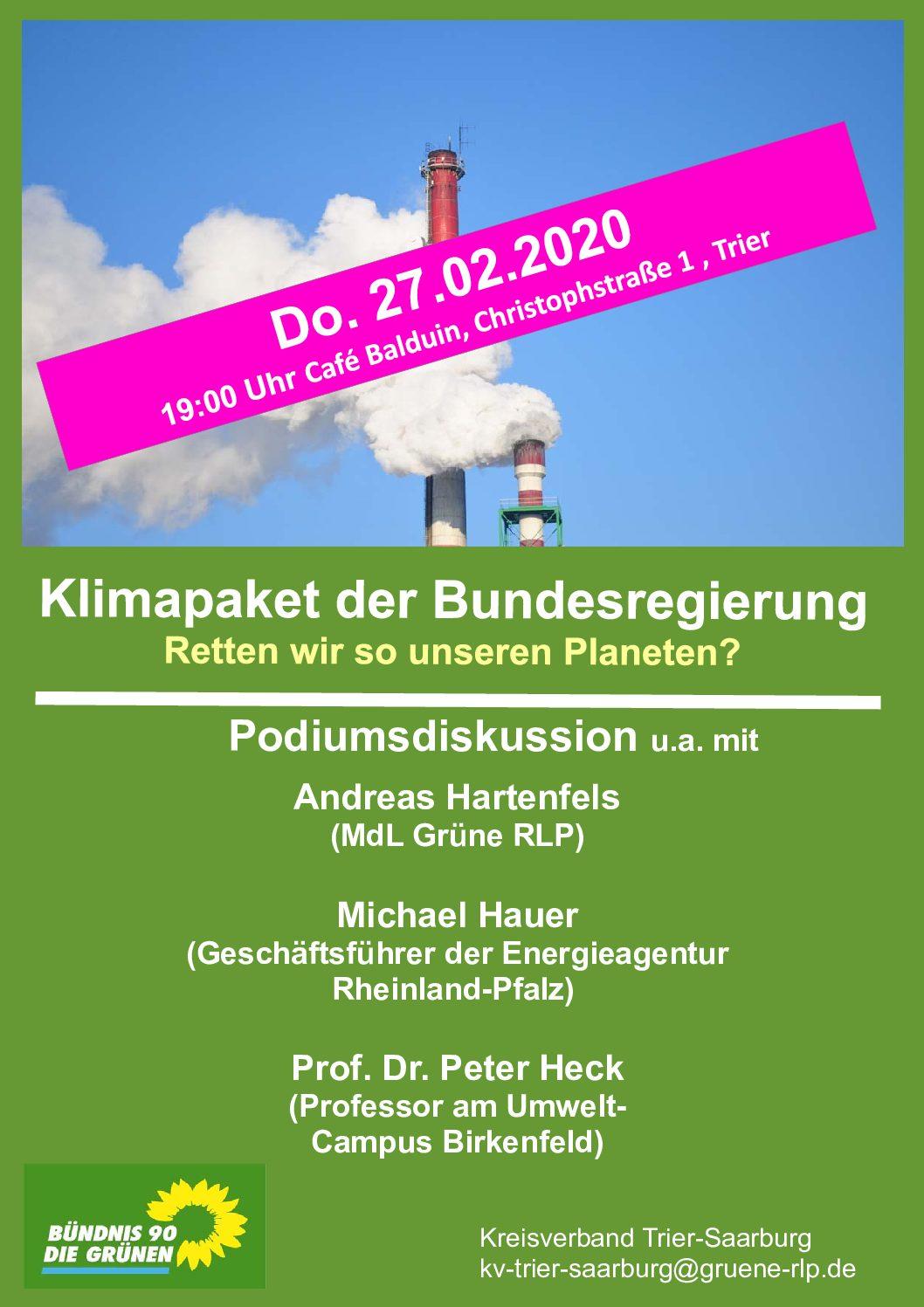 Podiumsdiskussion – Klimapaket der Bundesregierung